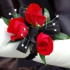 Red Sweetheart Rose Corsage - Black