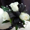 White Sweetheart Rose Corsage - Black