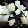 White Sweetheart Rose and White Orchid Corsage - Black