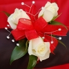 White Sweetheart Rose Corsage - Red