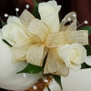 White Sweetheart Rose Corsage - Gold