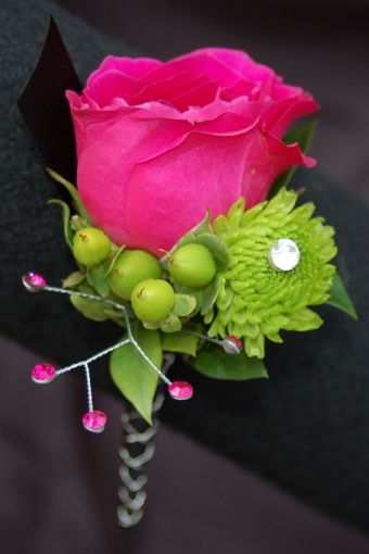 Hot Pink and Lime Boutonniere - Premiere