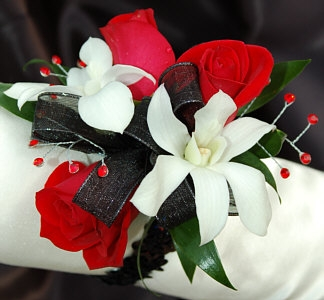 Red Sweetheart Rose And White Orchid Corsage Black