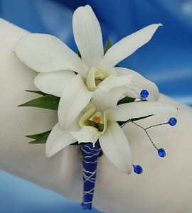 White Orchid Boutonniere - Blue