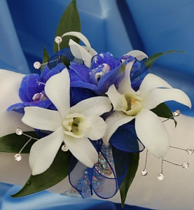 White Orchid and Delphinium Corsage - Blue