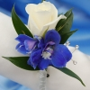 White Sweetheart Rose and Delphinium Boutonniere - Blue