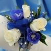 White Sweetheart Rose and Delphinium Corsage - Blue