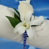 White Sweetheart Rose and White Orchid Boutonniere - Blue
