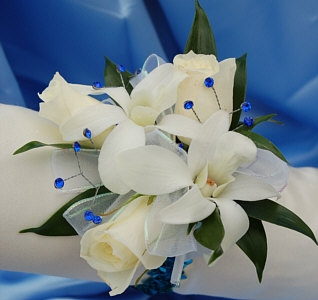 White Sweetheart Rose And White Orchid Corsage Blue