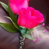 Hot Pink Sweetheart Rose Boutonniere - Ht Pink