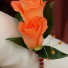 Orange Sweetheart Rose Boutonniere - Gold