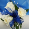 White Sweetheart Rose Corsage - Blue