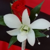 Red Sweetheart Rose and White Orchid Boutonniere - Red