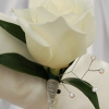 White Rose Boutonniere - White