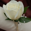 White Rose Boutonniere - Gold