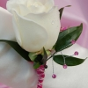 White Rose Boutonniere - Pink