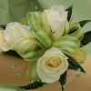 White Sweetheart Rose Corsage - Green