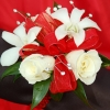 White Sweetheart Rose and White Orchid Corsage - Red