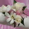 White Sweetheart Rose and White Orchid Corsage - Pink