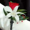Red Sweetheart Rose and White Orchid Boutonniere - Black