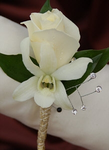 White Sweetheart Rose and White Orchid Boutonniere - Gold