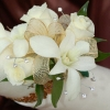 White Sweetheart Rose and White Orchid Corsage - Gold