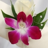 White Sweetheart Rose and Purple Orchid Boutonniere - White