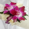 White Sweetheart Rose and Purple Orchid Corsage - White