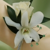 White Sweetheart Rose and White Orchid Boutonniere - Green