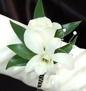 White Sweetheart Rose And White Orchid Boutonniere Black
