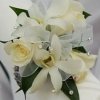 White Sweetheart Rose and White Orchid Corsage - White